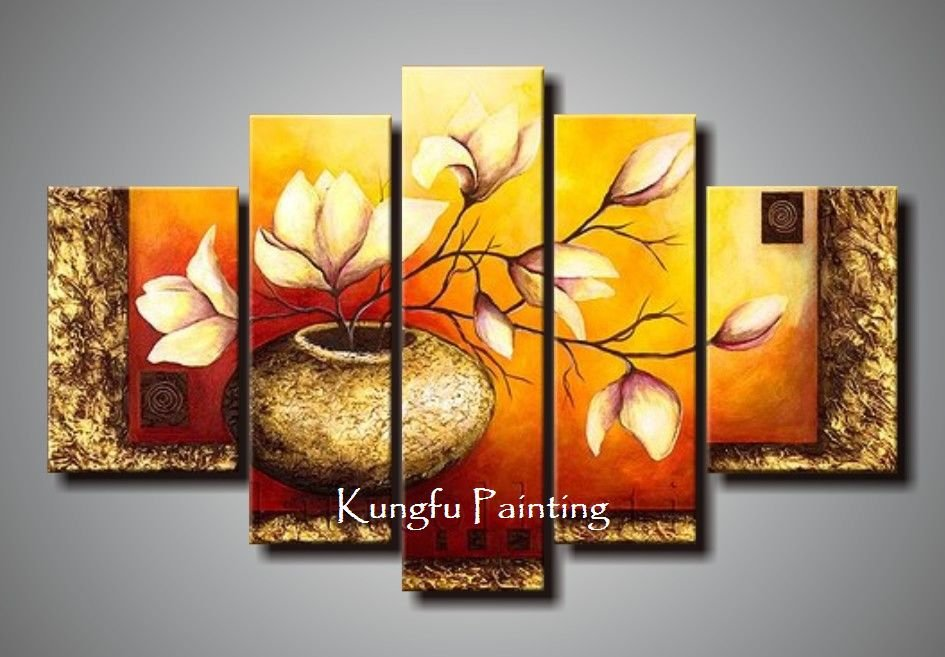 Cheap Wall Canvas Prints Idea 100 Hand Painted Abstract 5 Panel Canvas Art Living Room Wall Decor