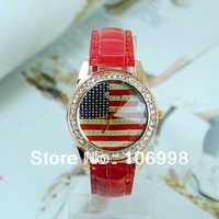 Fashion Quartz USA National Flag Watches Leather Young Women Watch Casual Lady Wristwatches Sports Wrist New