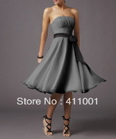 US 0 2-14 GREY Chiffon Strapless Knee-Length A-line Party Bridesmaid Dresses Free Shipping with Sash in Stock