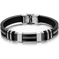 hot Wholesalel luxury man 316L stainless steel Slicone bracelet&bangle 9mm width for men,fahison Jewelry free shipping