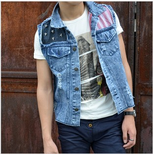 The trend of the vest rivet personality hole whisker american flag patchwork water wash denim vest male Free shipping