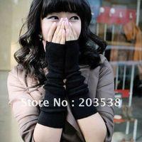 Free Shipping 2014 New Christmas gift Fashion Cool Knit Arm Warmer Fingerless Long Mitten Gloves Fingerless Gloves 3pcs/lot