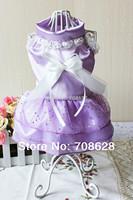 новый питомец собака одежда горный хрусталь паук полосы кружева пачка щенка принцесса свадебное платье xs s m l 10шт/лот