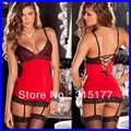 Free shipping Stretch Red Chemise Lace-up Back 2013 sexy Valentine Lingerie Gift Wholesale 10pcs/lot  Sexy underwear 2657