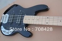 free shipping  hot vintage bass Custom black 5 string bass Electric bass Guitar MUSIC MAN OEM black color top quality 5 bass