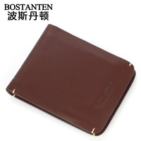 Business casual short design wallet cowhide male wallet b30093 BOSTANTEN MEN'S
