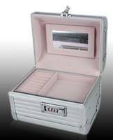 2014 Professional Portable Alumimum PVC Coded lock Cosmetic box, Makeup Case, Beauty Organizer w/ mirror