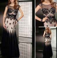 2013 Sexy Cap Sleeves Black Mermaid Evening Dresses Lace Tulle Beaded Applique Prom Dresses