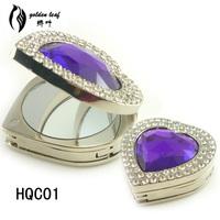 Hotsale heart shape mirror folding purse hooks ,crystal  bag accessory ,wholesale bag holders mix colors HQC01 ,18PCS/LOT