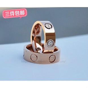Wedding Ring! Fashion titanium ring high artificial diamond finger ring 14 rose gold lovers ring wedding gift -jhdj
