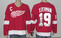 Hockey jerseys Men's Cheap Jerseys Detroit Red Wings #19 Steve Yzerman Stitching Red Hockey jerseys Fast Shipping Cheap