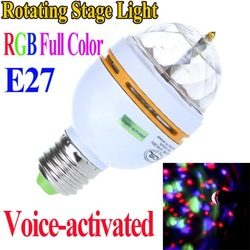 Full Color 3W E27 RGB LED Crystal Stage Light Voice-activated Rotating DJ party stage Light Bulb Lamp Free Shipping wholesale(China (Mainland))