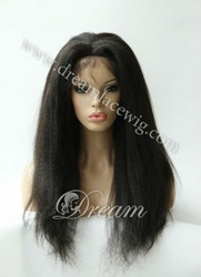 Free shipping!!!wholesale Luxury& Fashion Brazilian virgin remy human hair lace front wig,kinky straight,#1(China (Mainland))