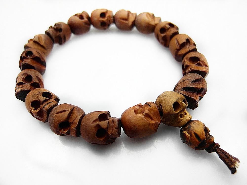 Natural Oração Madeira Crânio Beads budista Mala Pulseira 12pcs/lot --- Frete Grátis(China (Mainland))