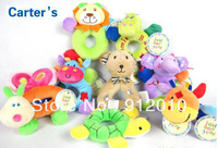 Free Shipping Wholesale Hot Sale 10cm 12pcs/lot Cute Baby Carter's animal Rattle Children Plush Toy for Kids's gift Soft Toy