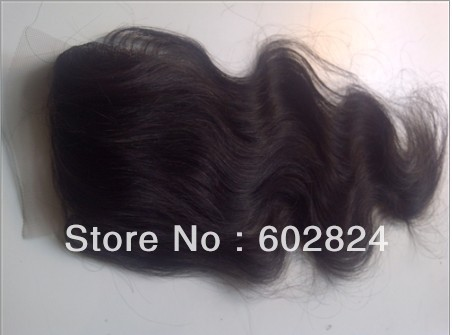 Cheap Brazilian Virgin Hair Lace Top Closure body wave 4by4 DHL Free Shipping(China (Mainland))