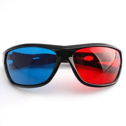 1pc /lot ,New Arrival Fashion Red&amp;Blue Glass Black Plastic Frame Anaglyphic 3D Stereo Glasses&amp;Eyewear 670074(China (Mainland))