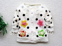 4pieces!Hot Sweet flower girls long-sleeved coat/contracted girls coat/children clothing/baby clothes