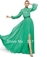 Modest Front Slit Green Chiffon High Neck Long Sleeve Evening Dress Gowns FN164