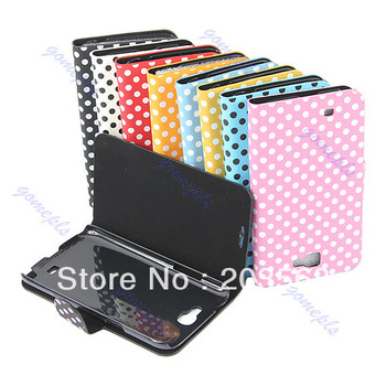 New Fashion Cute Polka Dots Folio Leather Case Cover Skin For Samsung Galaxy Note 2 II N7100 free shipping