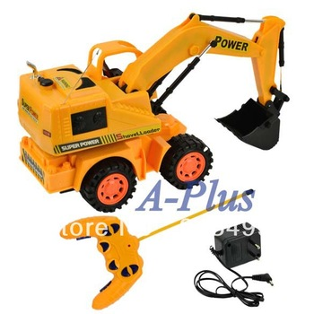 Freeshipping Baby Educational Toy Remote Control Wireless Charger Stunt Digger Truck Toy 8505