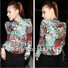 2013 new Promotions hot trendy cozy women blouse shirts jacket T-shirt Fashion Long-sleeved printing Flower