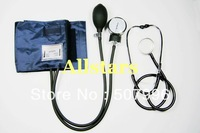Free Shipping Brand New ANEROID Adult Size Blood Pressure BP Cuff Set Sphygmomanometer Stethoscope Kit