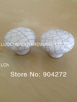50 PCS/LOT FREE SHIPPING 38MM CRACKLE WHITE CERAMIC KNOB CERAMIC HANDLES CABINET KNOB DOOR KNOBS ZINC KNOBS