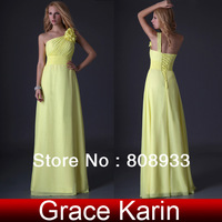 2013 Free shipping GK Stock Full-Length One shoulder bridesmaid Gown Prom Ball Evening Dress 8 Size CL3433