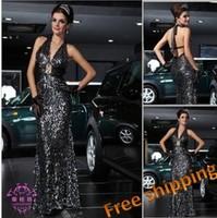 Paillette long design racerback sequin black silver costume banquet evening dress elie saab