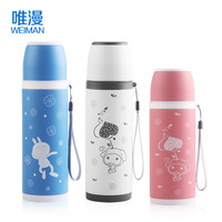 free shipping,500ml stainless steel Vacuum cup with strap bullet shape water bottle men women's childVacuum Flasks & Thermoses