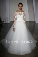 Most Beautiful A Line Chapel Train Tulle Lace Applique Beaded Simple Popular Long Sleeve Weding Dresses 2013
