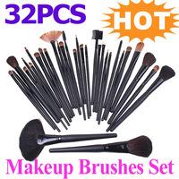 Promotion !! 32 pcs/lot , Makeup Brush Kit  Facial Make up Cosmetic Brushes Black Leather Case, Free Shipping Dropshippimg