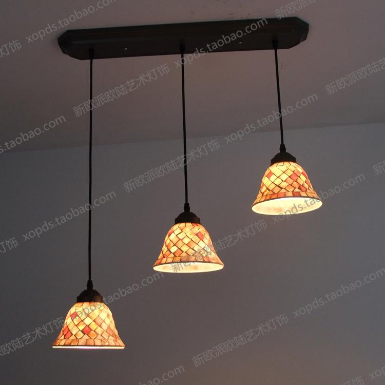 Fashion lamps bar stair 3 pendant light natural shell mosaic lighting(China (Mainland))