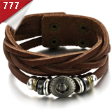 OPK FASHION JEWELRY Charm Wrap Bracelet  Leather cuff bangle stainless steel clasp wristband 10 pcs/lot FREE SHIPPING