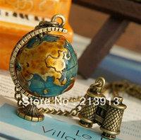 Min.order 15$ mix  Antique Copper 3D globe Charms Pendants necklace