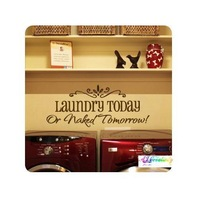 Laundry today or nake tomorrow wall stickers wall Decal Removable Art Vinyl Home 58*24cm 8032