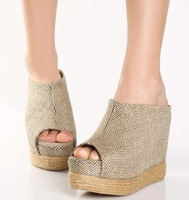 2012 summer new arrival slippers high-heeled elevator linen fabric platform open toe wedges platform 40