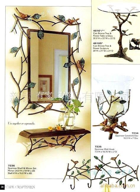 Flying Tiger Badkamer ~ mode rustieke badkamer spiegel ijzeren frame spiegel plank rek houten
