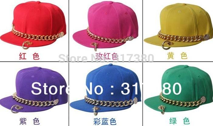 NEW COOL Flat Bill Hats For Men Flex Fit Snap back Hat Baseball Cap Men Snapbacks Mens Visor Chain Flat Peak Caps Women Sport(China (Mainland))
