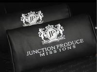 2pcs Junction Produce JP Leather Embroidery Logo Neck Pillows / Headrest