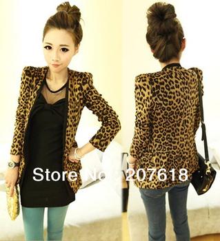 Spring 2013 Sexy Women's Blazer Suit Jacket European Style Shoulder Pads Sueding Leopard Pattern Slim Coats Outerwear