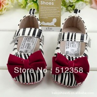Topway ,Fashion zebra bowknot baby shoe home ,Soft Sole shoe,Prewalker shoes ,Infant shoes supplier ,6pairs/lot ,free shiping
