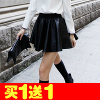Fashion elegant elastic waist PU expansion skirt short skirt pleated skirt pleated leather skirt