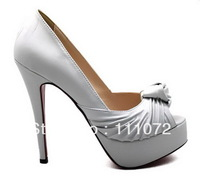 NEW style women's shoes white goatskin with bowknot platform shoes peep-toe shoes High Heels