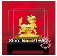 YZ-R069 Free shipping gold craft/24K gold craft/art gift/ Lucky Chinese Door Fengshui Running Dragon Kylin Chi-lin gold Statue