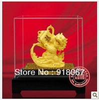 YZ-R051 Free shipping gold craft/24K gold craft/art gift/ Carving Sculpture Chinese Dragon Pure Handmade/Figurine