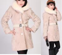 Freeshipping women's 100% sheepskin shearling leather coat with fur, sheepskin coat with fox fur collar