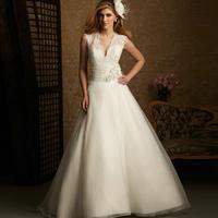 quality guarantee 2012 bride fashion belt flower slit neckline V collar puff wedding dress