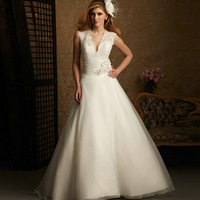 quality guarantee 2012 bride fashion belt flower slit neckline V collar puff wedding dress